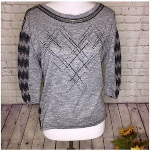 Miss Me Black & Gray Top with Beading Detail